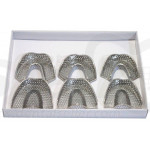 Full Stainless Steel Dental Impression Trays Dentist Instrument Perforated Units Pack of 6 SK-TR02