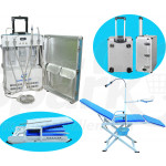 Portable Dental Delivery Turbine Unit with Air Compressor and 4 Holder + Full Folding Dental Mobile Chair GU-C204