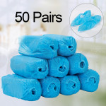 Disposable Non-woven Shoe Covers - 100 Pack (50 Pairs) Boot Covers Nonslip Dustproof Onesize Fit Most - Perfect for Home Lab Workplace Visiting (Blue)