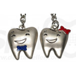 Dental Double Keychain / Keyring Tooth Promotion Stainless Steel Decoration Pack of 5 SK-DG-KC01