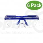 Dental Lab Goggles Anti-fog Avoid all kinds of splash Eye Safety Spectacles for Dental or Medical Use 6 Pack - Blue Color
