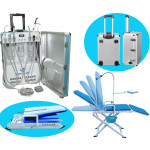 Deluxe Portable Dental Delivery Turbine Unit with Air Compressor and 6 Holder + Mobile Full Folding Dental Chair GU-C206