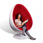 Retro Living Room Leisure Egg Pod Ball Chair for Beauty Teeth Whitening Designed by Eero Aarnio with Red Velvet and White Fiberglass Shell