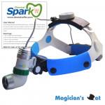 Spark Lightweight 3 Watt Headband Mounted LED Head Light with Rechargeable Lithium Battery | High Intensity Bulb (15000-18000Lux), Adjustable Light Spot, 5-7 Hour Runtime