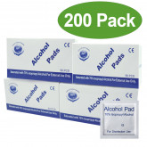 200pcs Disposable Sterilized Alcohol-Cotton Pads Prep Wet Wipes Cleaning Sheets Swabs with Individual Package Disinfection for Mobile Phone Screen Glasses Lenses Nails Jewelry